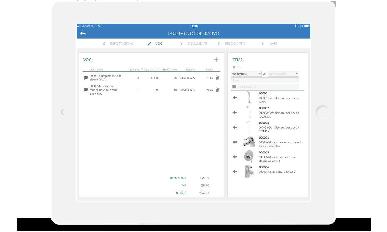 zService scheda raccolta ordini da app per ipad